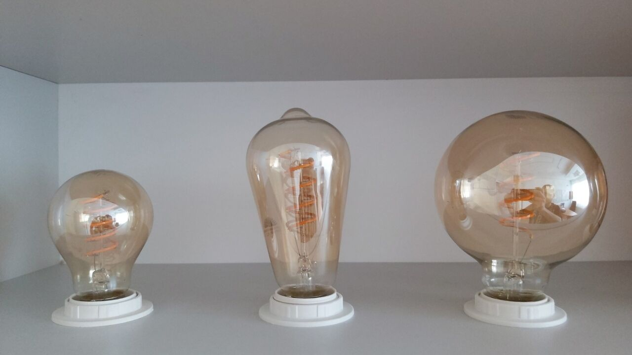 Spirál filament normál körte, hosszú körte és nagygömb LED