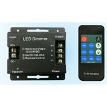 Egyszínű LED szalag vezérlő 216W dimmer rádiós távirányítóval