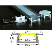 Alusín szett beépíthető átlátszó pattintható takaróval 8-10-12 mm-es LED szalaghoz 1m sín+1 m átlátszó takaró+ 2 db rögzítő+ 2 db végzáró.