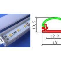 Alusín szett 8-10 -12 mm-es led szalaghoz 2m sín+ 2m átlátszó takaró 4 db rögzítő+ 2 db végzáró