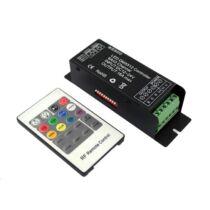 RGB LED szalag vezérlő DMX 216W 6ch + 20 gombos infra távirányító