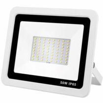 Led reflektor 50W, keskeny, fehér házban, IP65, vízálló. 4480 Lumen, 3000 kelvin, meleg fehér.