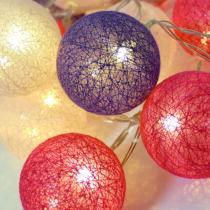 20 Ledes pamut labda fényfüzér, meleg fehér leddel, csajos színekben/ piros, pink, lila/, időzítős!