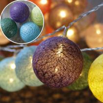40 Ledes pamut labda fényfüzér, meleg fehér leddel, / sárga, zöld, kék, lila/, időzítős!