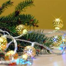 Karácsonyi fémgömb kül- és beltéri füzér 40 db színes RGB LED