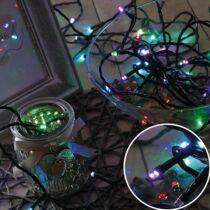 Karácsonyi LED fényfüzér, rizsszem kültéri füzér IP44, 100 db RGB LED