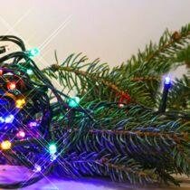 Rizsszem LED fényfüzér  300 db multicolor LED. 8 funkciós, villogtató memóriás vezérlővel