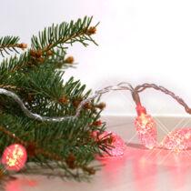 Karácsonyi toboz kül- és beltéri füzér 80 db átlátszó fehér toboz piros LED