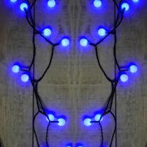 Karácsonyi led fényfüzér, nagy golyó, IP44, kültérre is! 100 db fehér golyó, ami kéken világít! 8 funkciós vezérlővel és időzítővel