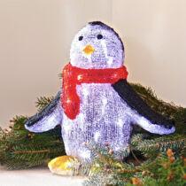 Karácsonyi figura pingvin 25x20x30 cm 48 db hideg fehér LED