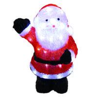Karácsonyi télapó figura IP44, kültérre is! 36x23x40 cm, 48 db hideg fehér leddel, fekete lábbal.