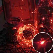Karácsonyi mikro- LEDes Nano fényfüzér, IP44, kültérre is! 100 db piros LED