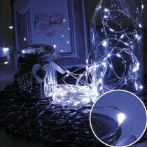 Karácsonyi mikro- Ledes Nano fényfüzér, IP44, kültérre is! 100 db hideg fehér leddel, ezüst vezetékkel. Csak világít, időzítős!