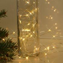 Karácsonyi micro LED nano fényfüzér,  100 db meleg fehér LED, arany vezetékkel