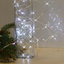 Karácsonyi micro LED nano fényfüzér, 100 db hideg fehér LED, ezüst vezetékkel
