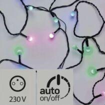Karácsonyi LED fényfüzér IP44, kültérre is! 40 db kis golyó zöld-kék-pink