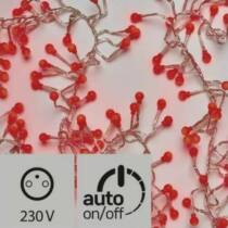 Karácsonyi cherry süni, IP44, 2,4 méter, 288 LED, piros, időzítős!
