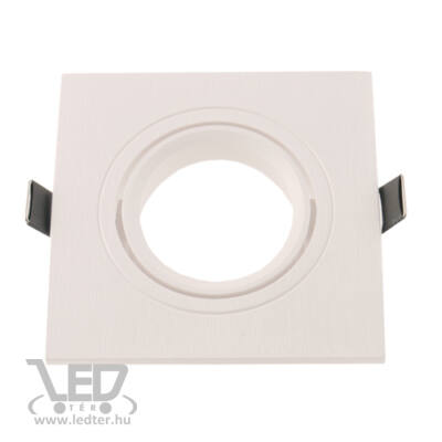 Beépíthető spot lámpatest fix, négyzet, fehér, faerezetes, hátulról tölthető!
