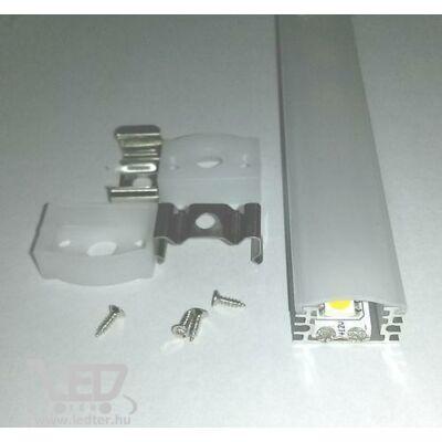 Alusín szett IP65 vízálló tejes takaróval 8-10 mm-es LED szalaghoz 1m sín+1 m tejes takaró+ 2 db rögzítő+ 2 db végzáró.