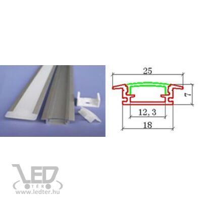 Alusín szett beépíthető pattintható tejes takaróval 8-10-12 mm-es LED szalaghoz 1m sín+1 m tejes takaró+ 2 db rögzítő+ 2 db végzáró.