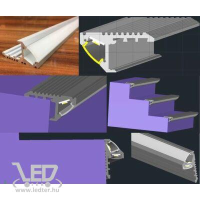 Alusín szett lépcsőhöz 8-10 mm-es LED szalaghoz 1m sín + 2 db végzáró