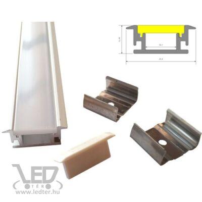 Alusín szett lépésálló kivitel tejes takaróval 8-10 mm-es LED szalaghoz 1m sín+1 m tejes takaró+ 2 db rögzítő+ 2 db végzáró.