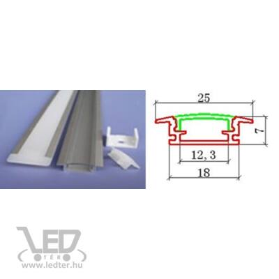 Alusín szett beépíthető tejes pattintható takaróval 8-10-12 mm-es led szalaghoz! 2m sín+2 m tejes takaró+ 4 db rögzítő+ 2 db végzáró.