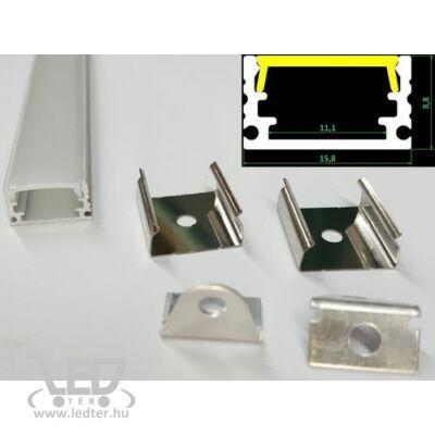 Alusín szett keskeny 8-10 -12 mm-es led szalaghoz 2m sín+ 2m átlátszó takaró + 4 db rögzítő+ 2 db végzáró