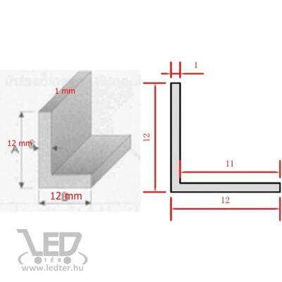 Alusín L profil LED szalaghoz 12x12x1mm - 2 méter hosszú