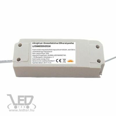 Fényerő szabályozható driver LED panelhez 53W, 1200mA, 27-42V. Csak LLPDIMMERKAP53W-hez