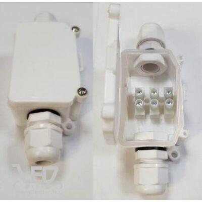 IP65 vízhatlan kötődoboz, 10A, maximum 0,9 ø vezetékhez, fehér