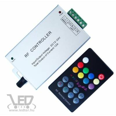 144W rádiós 18 gombos zenére színváltós RGBLED szalag vezérlő