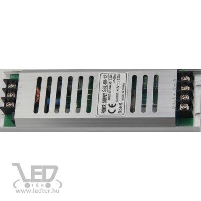 60W 12VDC LED fémházas tápegység 5A keskeny kivitel