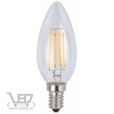 Melegfehér-2900K 4W=40W 450 lumen Retro filament gyertya E14 LED izzó