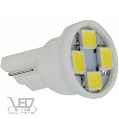 Autós led T10 helyzetjelző, index világítás, 4 led, 50 Lumen, 1W, hideg fehér