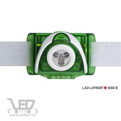 LedLenser SEO3 3xAAA 100 lm fejlámpa zöld bliszteres