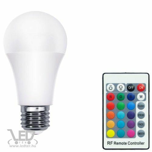 Színes LED körte RGBW 10W E27 távirányítós