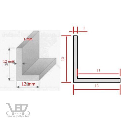 Alusín LED szalaghoz L profil 12x12x1mm 2 méter