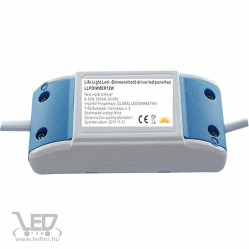 Dimmerelhető, fényerő szabályozható driver led panelhez 8W-12W, 300mA, 40-65V