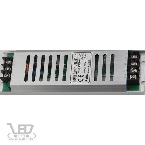 60W 12V DC 5A LED tápegység fémházas keskeny