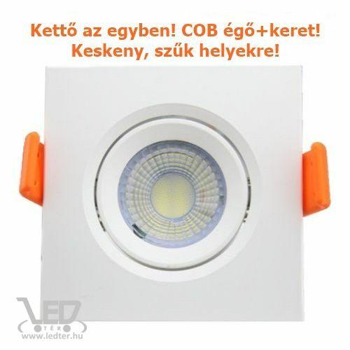 Középfehér-4000K 7W=60W 700 lumen Keretes kör COB LED spot égő