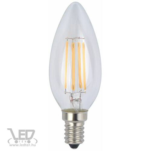 Középfehér-4200K 4W=50W 485 lumen Retro filament gyertya E14 LED izzó