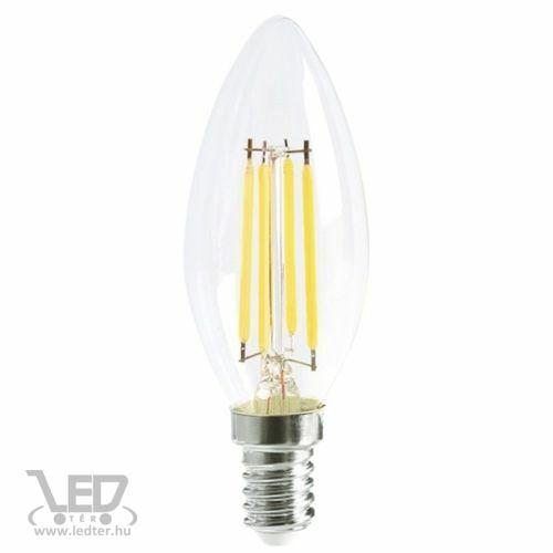 Filament gyertya E14 LED izzó középfehér 6W 700 lumen
