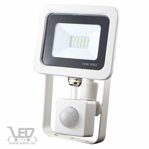 Led reflektor 10W, keskeny, fehér házban, mozgásérzékelővel, IP65, vízálló. 1050 Lumen, 4000 kelvin, közép fehér.