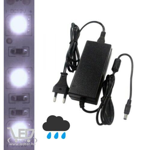 5m kültéri hidegfehér LED szalag + tápegység szettben!