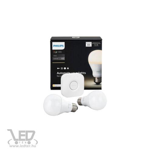 PHILIPS HUE White 9.5W E27 DIM 827 A60 2 set + Bridge okosvilágítás