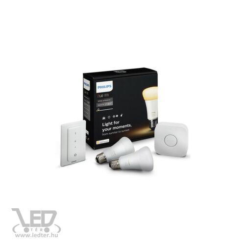PHILIPS HUE White Ambiance Starter kit 10W A19 E27 DIM + DimSwitch 2 set okosvilágítás