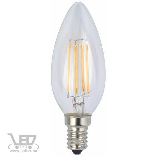 Filament gyertya E14 LED izzó melegfehér 4W 480 lumen
