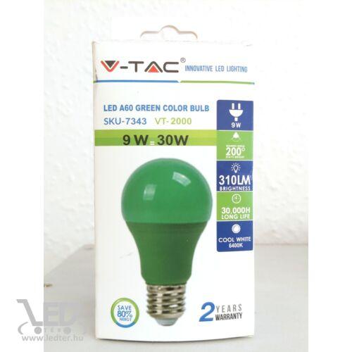 Normál körte E27 LED izzó zöld 9W 270 lumen