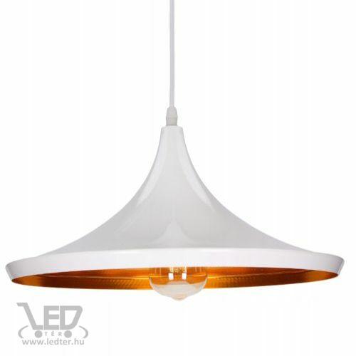 Modern lámpa függeszték tányér forma fehér - arany